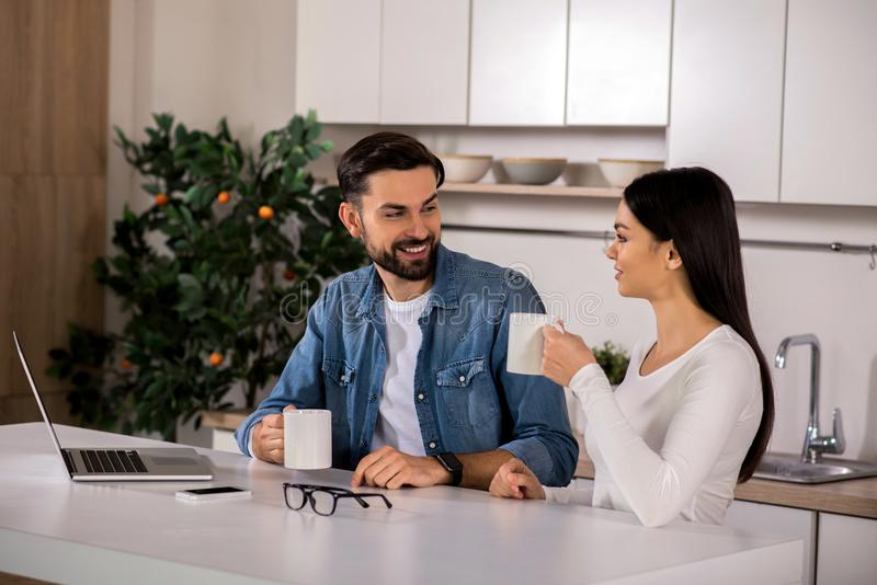 Positive loving couple spending morning in the kitchen stock photography