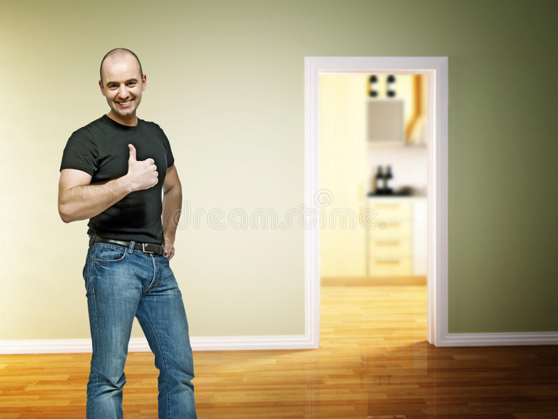 Download Positive man at home stock illustration. Image of home - 13858997