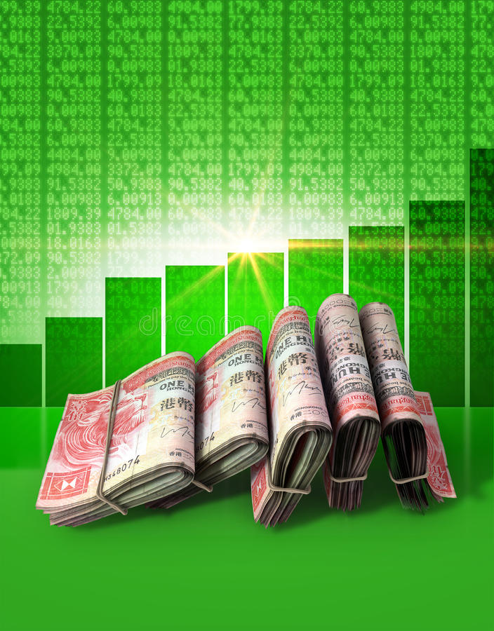 Positive Market Money. Wads of folded stacks of hong kong dollar banknotes on a green digital stock market indicator board background with an increasing green royalty free stock photos