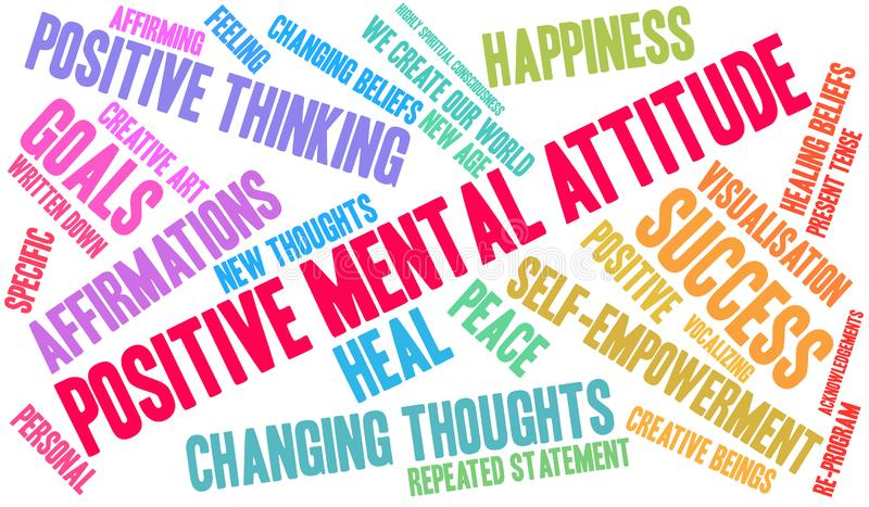Positive Mental Attitude Word Cloud. On a white background stock illustration