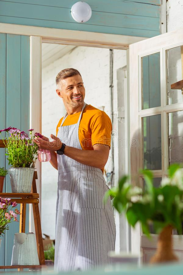 Florist in a striped apron sprinkling plants outside. Positive mood. Smiling florist in a striped apron sprinkling plants outside the flower shop royalty free stock photos