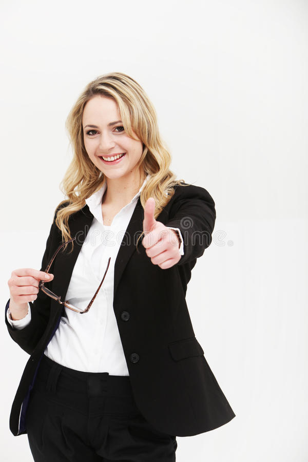 Positive Motivated Woman Giving Thumbs Up Royalty Free Stock Photos