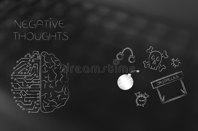 stressed thoughts circuit and human brain next to fear-themed icons royalty free illustration
