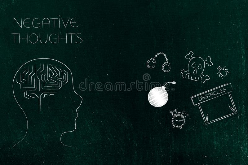 Stressed thoughts person`s mind next to fear-themed icons royalty free illustration