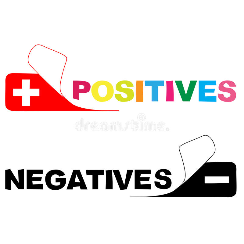 Positive. negative. Colored positive and negative sticker vector illustration