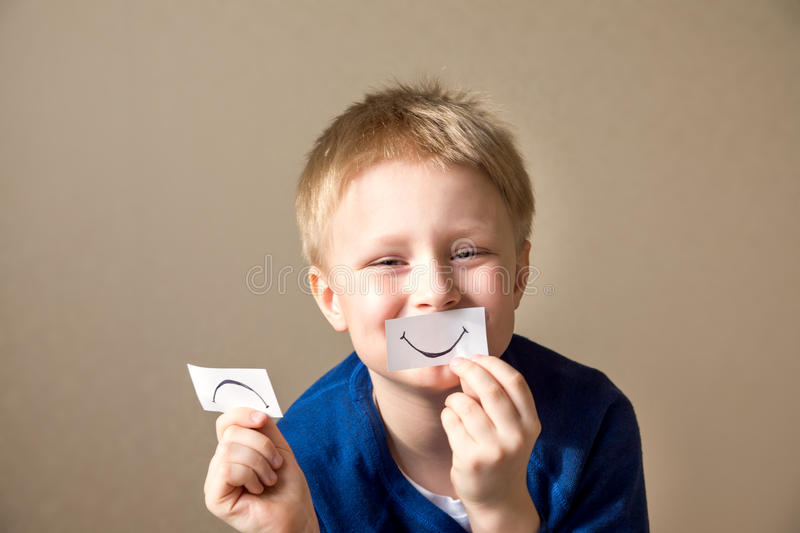 Positive and negative expressions stock photos