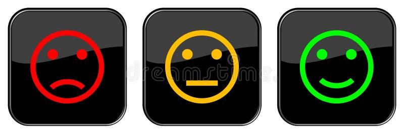 Positive negative neutrale Person von 3 Feedback-Knöpfen lizenzfreie abbildung