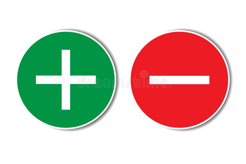 Positive negative plus minus assessment red green buttons with shadow. Simple concept pros cons dos dont list. vector illustration