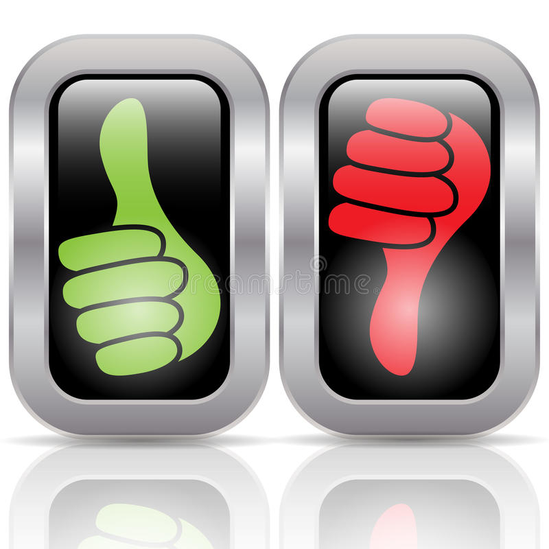 Positive negative voting buttons royalty free illustration