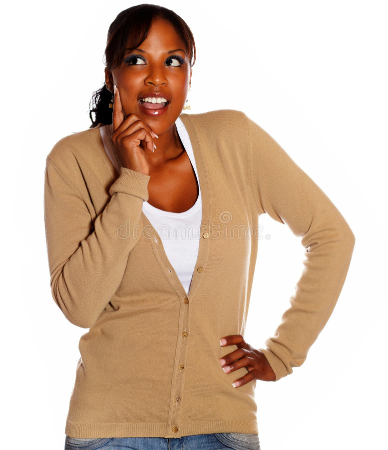 Download Positive Pensive Female Looking Right Stock Images - Image: 26752624