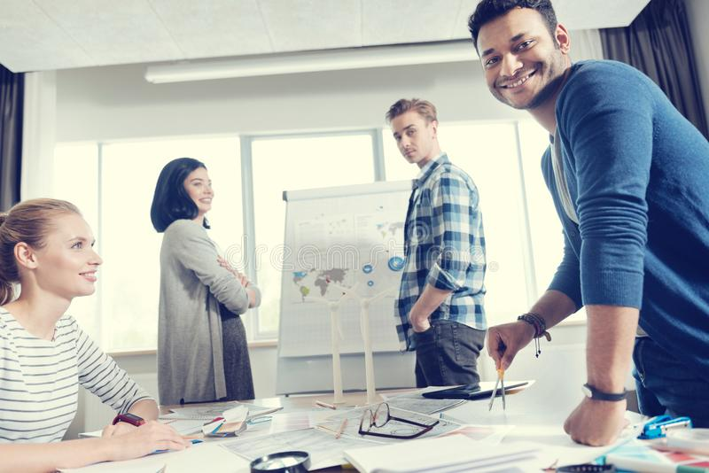 Positive people working in the cabinet royalty free stock photo