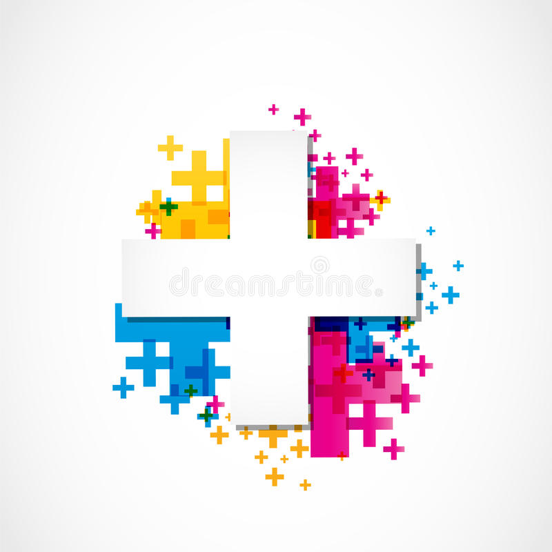 Positive plus sign concept colorful vector illustration