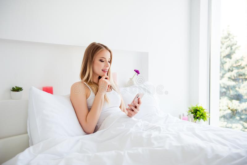 Positive pretty sweet dreamy lovely cute nice good-looking lady stock photos