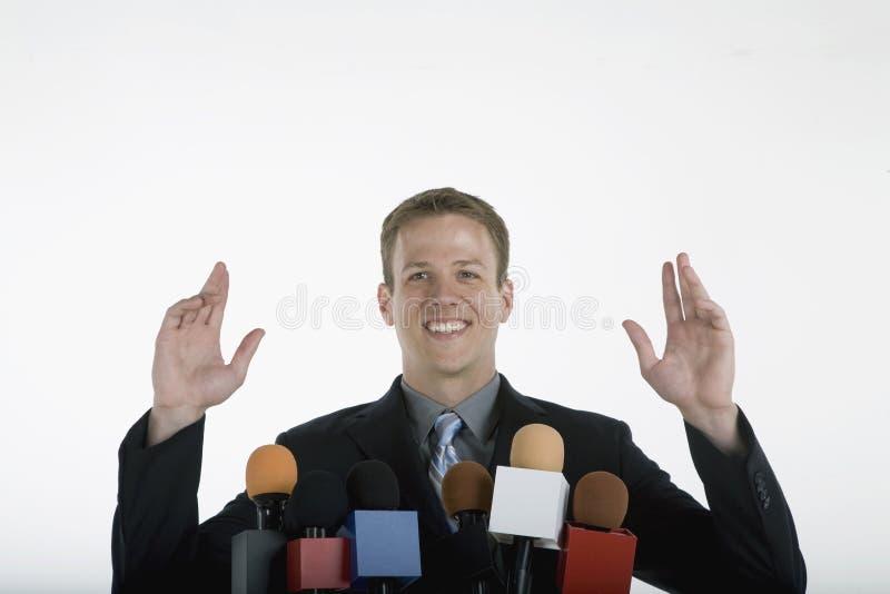 Positive public speaking stock photo