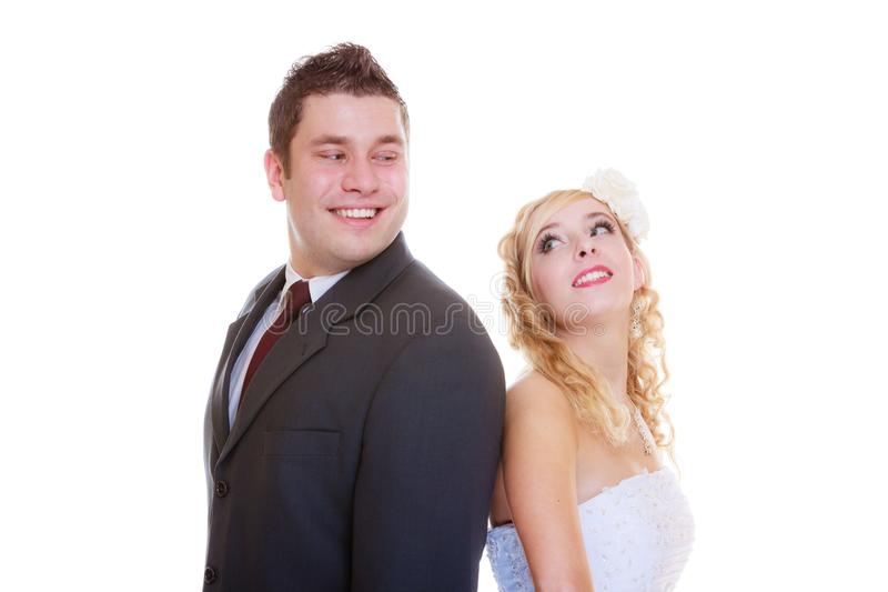 Happy groom and bride posing for marriage photo. Positive relationship couples concept. Happy groom and bride posing for marriage photo waiting for the big day stock photos