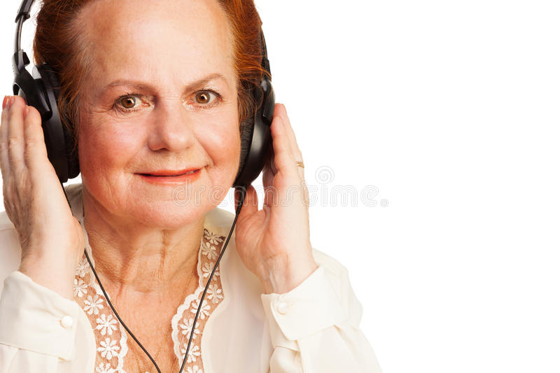 Download Positive Retired Woman Listening To Music Stock Image - Image: 27393251
