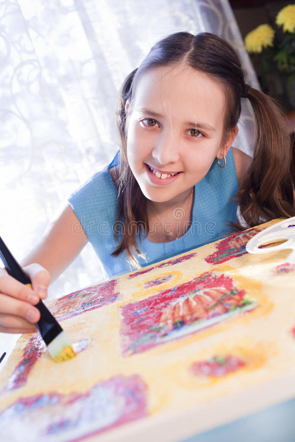 Download Positive School Girl Are Painting At Home Stock Image - Image: 24293587