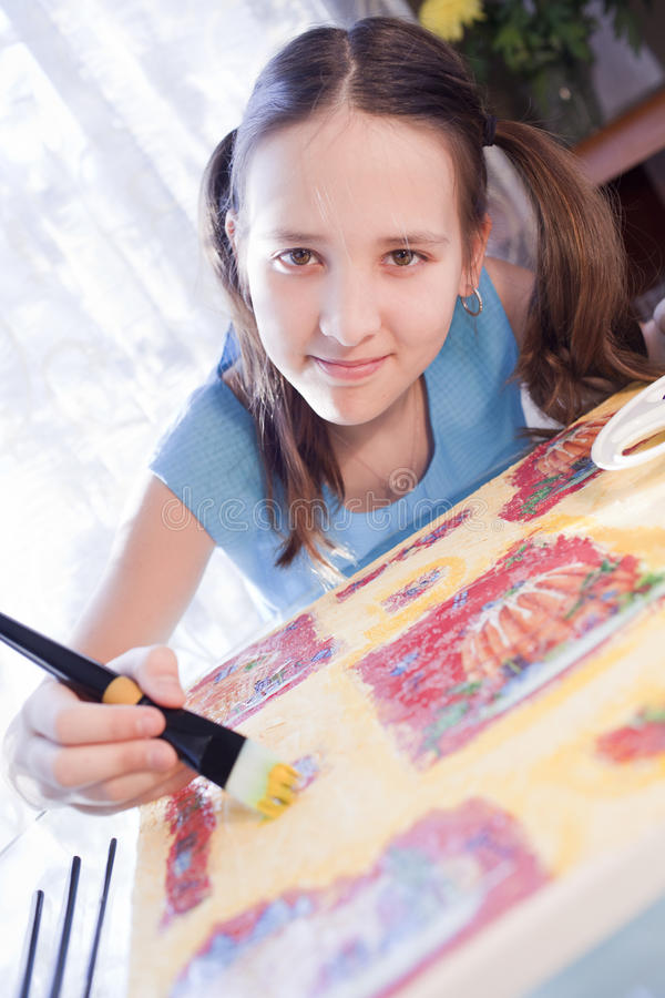 Download Positive Schoold Girl Are Painting At Home Stock Image - Image: 24293091
