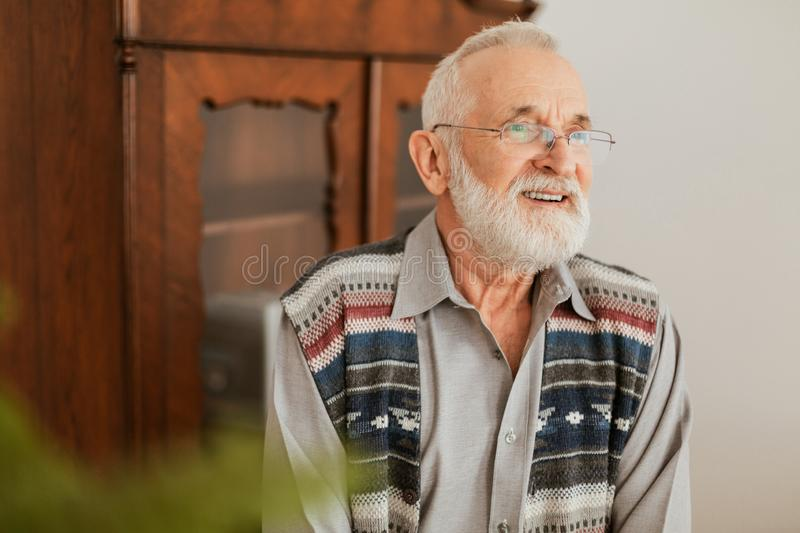 Positive grandfather with grey hair and beard sitting at home stock photo