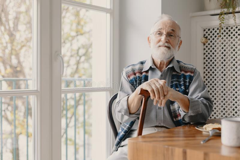 Positive senior grandfather with grey hair and beard sitting at home stock photo