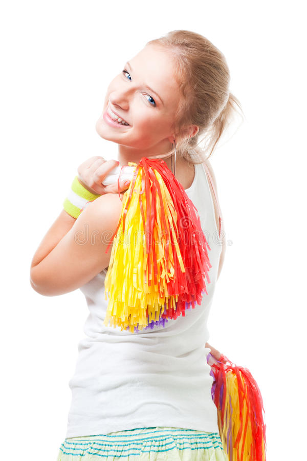 Download Positive Smile Woman Cheer Leader Stock Image - Image: 12284705