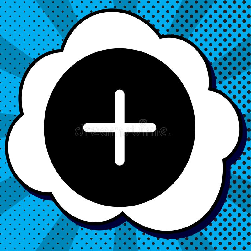 Positive symbol plus sign. Vector. Black icon in bubble on blue stock illustration