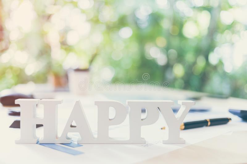 Positive thinking of business. Happy in your working, success, growth, development. Relax after long working with copy space royalty free stock images
