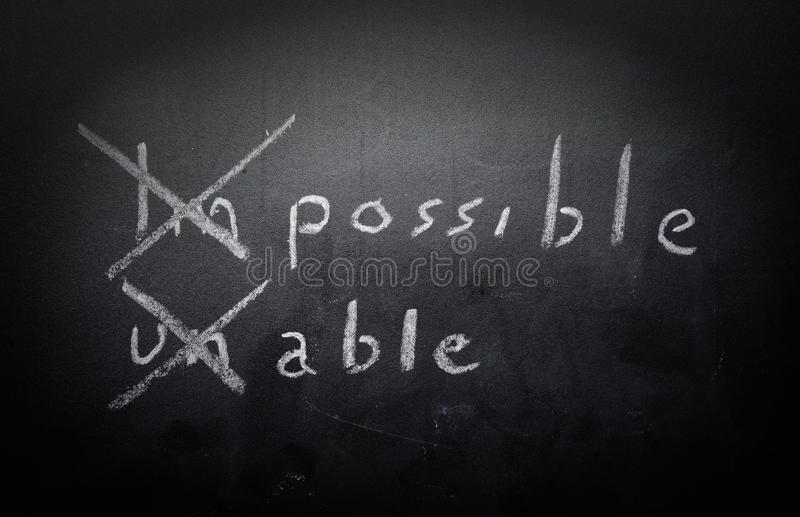 Positive thinking concept handwritten on black chalkboard with m stock photos