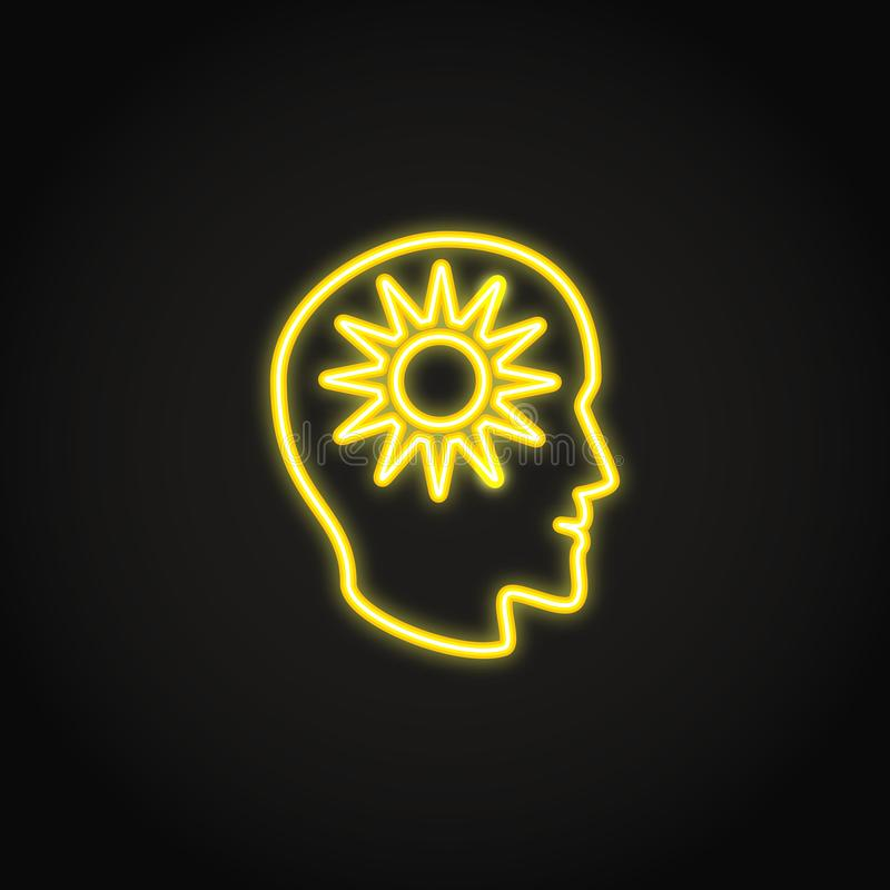 Positive thinking concept neon icon in line style vector illustration