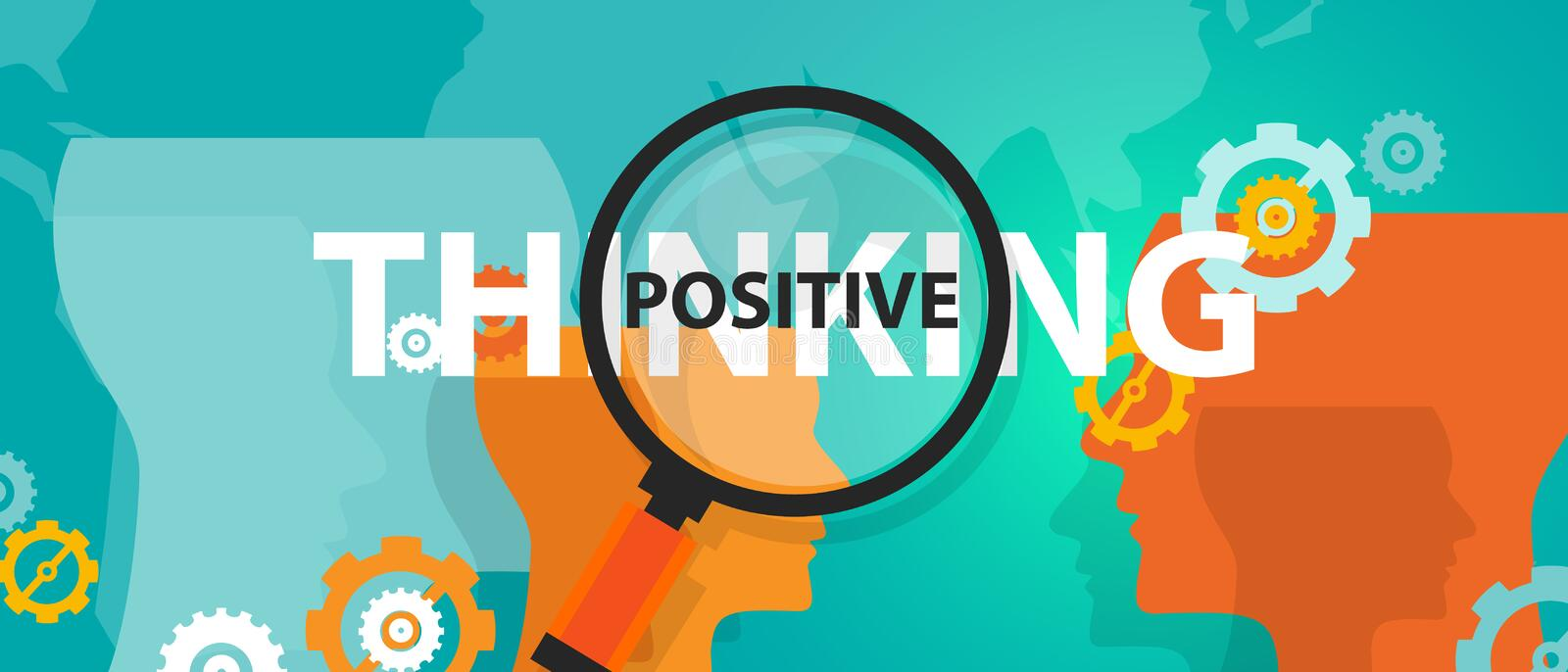 Positive thinking positivity attitude future focus concept of thinking analysis mindset thoughts. Vector royalty free illustration