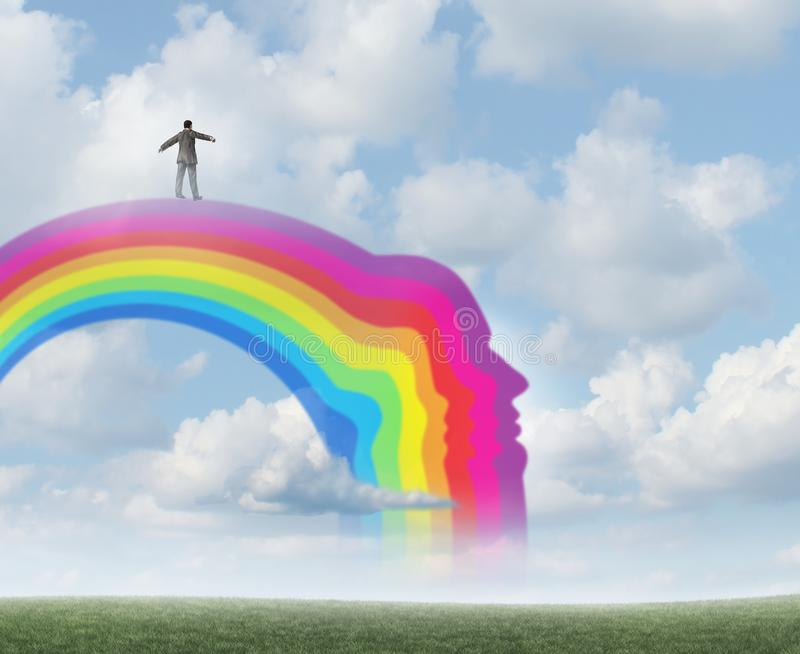 Positive Thinking Psychology. And depression prevention and eudaimonia as living a happy good life as a mental health symbol for happier emotions with 3D stock illustration