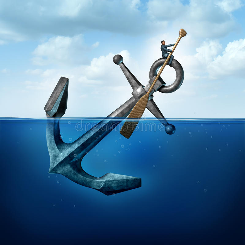 Positive Thinking. And resilience business concept with a person on a floating anchor rowing with a paddle as a symbol of moving forward despite restrictions vector illustration