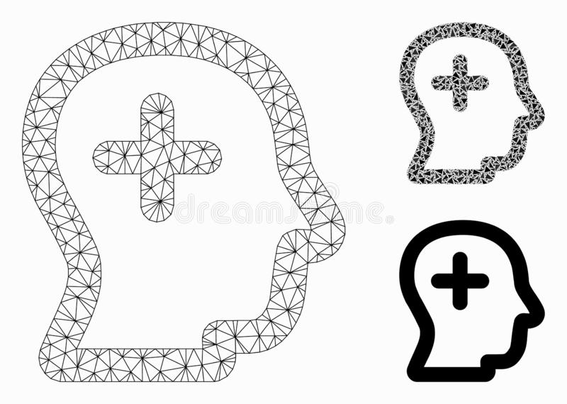 Positive Thinking Vector Mesh Wire Frame Model and Triangle Mosaic Icon. Mesh positive thinking model with triangle mosaic icon. Wire frame triangular mesh of royalty free illustration
