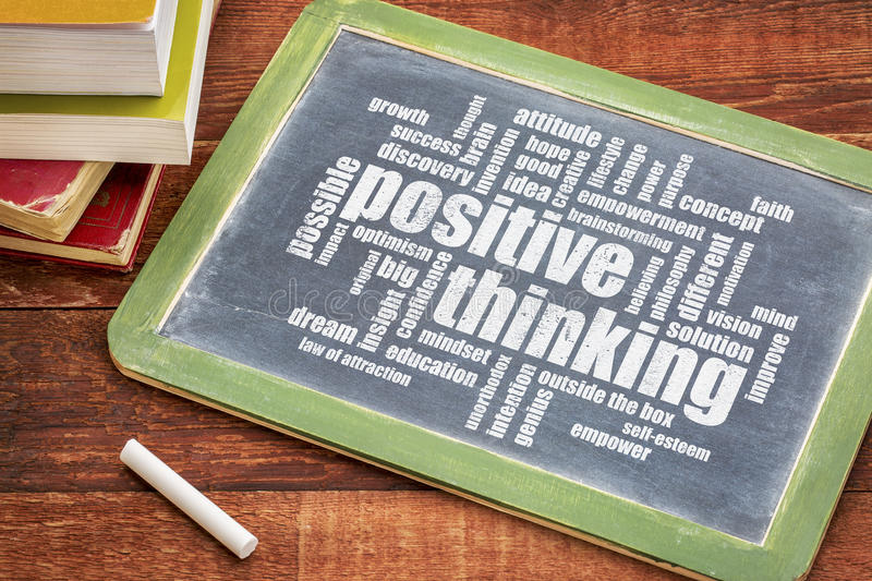 Positive thinking word cloud on blackboard. Positive thinking word cloud - white chalk text on a blackboard with a stack of books against rustic wooden table royalty free stock images