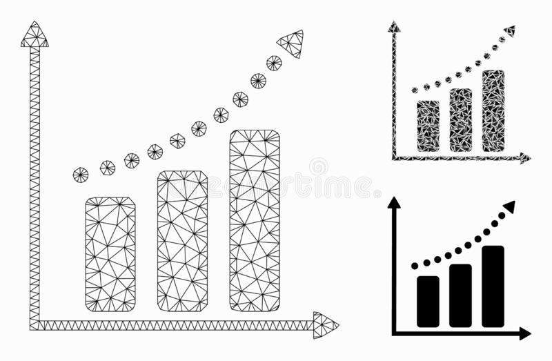 Positive Trend Vector Mesh Network Model and Triangle Mosaic Icon. Mesh positive trend model with triangle mosaic icon. Wire carcass triangular mesh of positive vector illustration