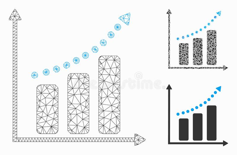Positive Trend Vector Mesh Network Model and Triangle Mosaic Icon. Mesh positive trend model with triangle mosaic icon. Wire carcass polygonal mesh of positive stock illustration