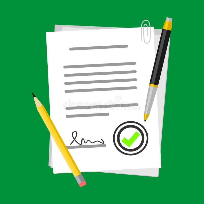 Positive Vertrags-Vektor-Illustration auf Papierform-Symbol mit Bleistift oder Stift, flaches Ikonen-Erfolgs-Zeichen vektor abbildung