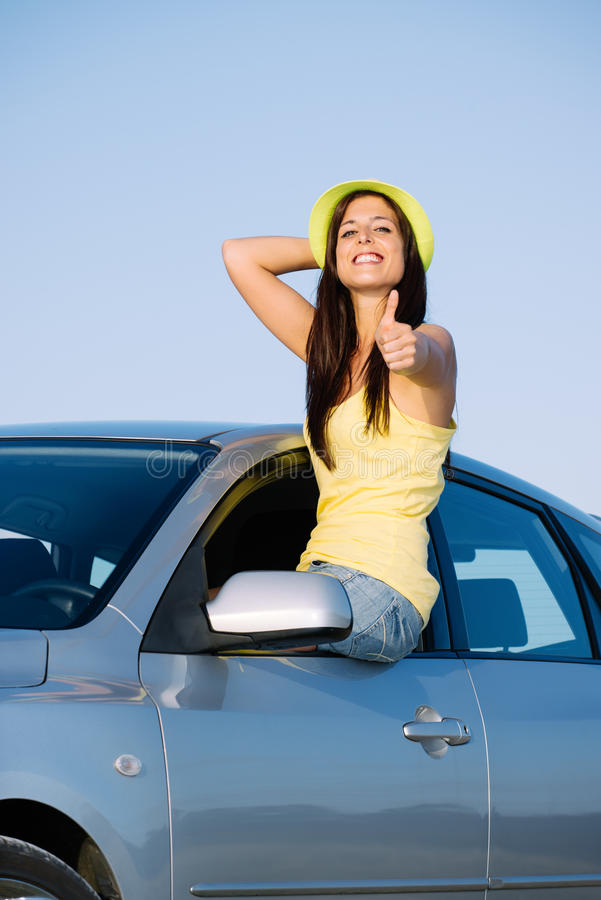 Download Positive Woman On Car Travel Stock Image - Image: 36908063