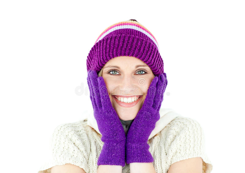 Positive Woman With A Colorful Hat And A Pullover Stock Images