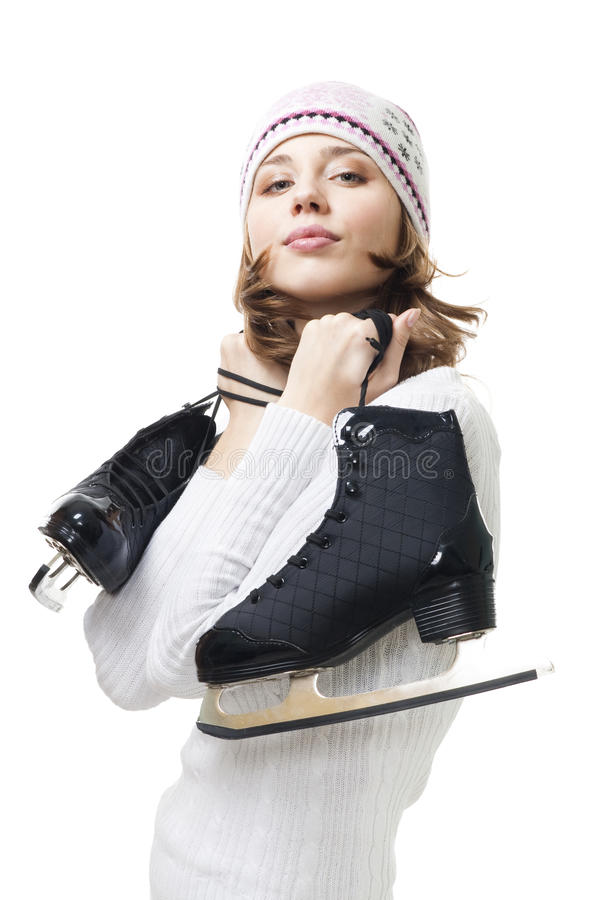 Download Positive Woman Hold Ice Skates Stock Photo - Image: 11463982