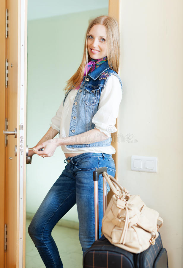 Positive Woman   Loocking Door Stock Image