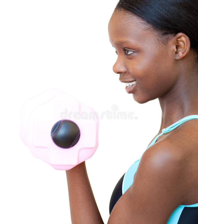 Download Positive Woman Working Out With Dumbbell Stock Photo - Image of endurance, body: 14024146