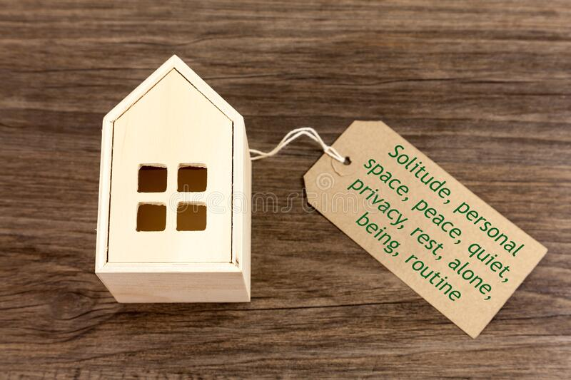 Positive words associated with solitude. Alongside a toy wooden house royalty free stock image