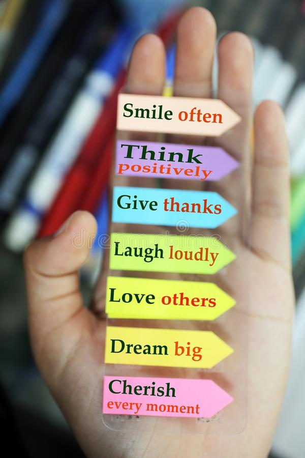 Free Positive Words In Hand. Todays Goals List. Morning Inspirational Words - Smile Often. Think Positively. Give Thanks. Laugh Loudly Stock Image - 158838091