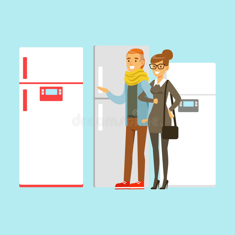 Positive young family couple choosing fridge. Appliance store colorful vector Illustration stock illustration