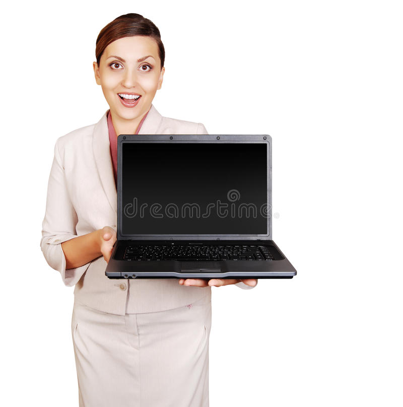 Download Positive Young Woman With Laptop In Hand Stock Photo - Image: 25786382