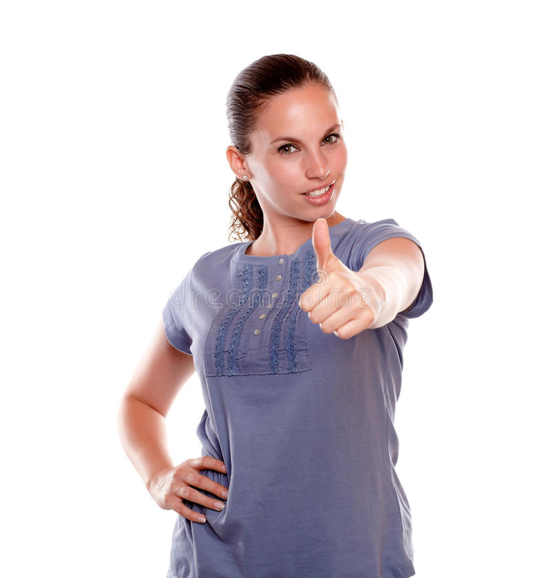 Positive Young Woman Lifting The Fingers Up Stock Image