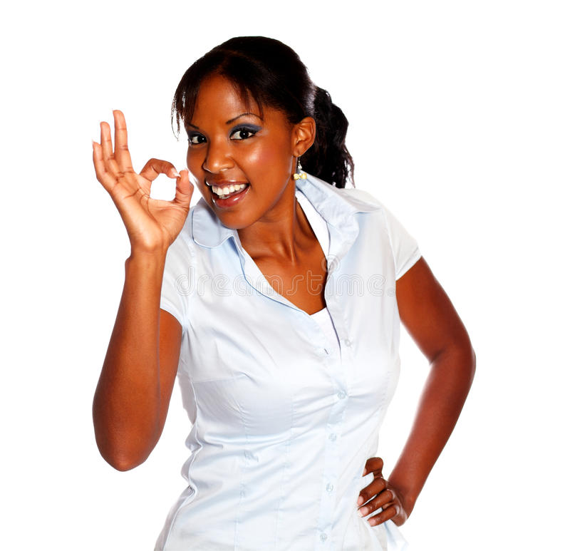 Positive Young Woman Saying Great Job Royalty Free Stock Photos