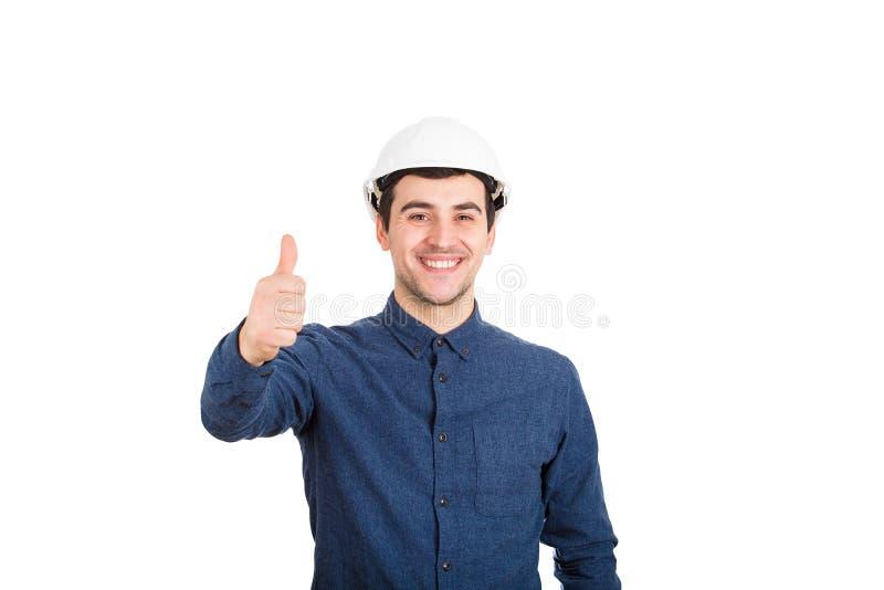 Positiver Daumen des Ingenieurs oben lizenzfreie stockbilder