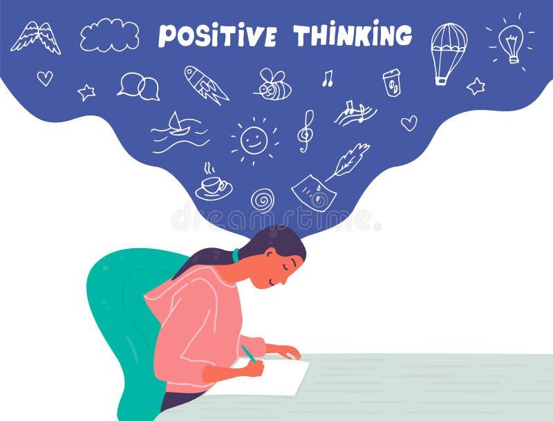 Positiver denkender Ikonensatz lizenzfreies stockbild